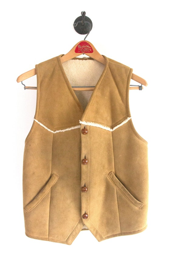 70's Suede Sherpa Lined Vest