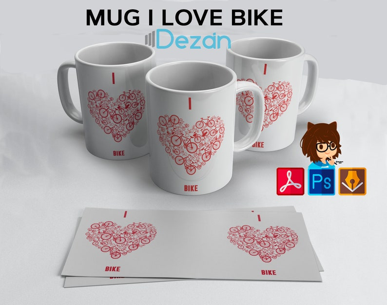 Template Cup Heart Bicycle cup Hearts bike template design gift for cyclist design gift for cyclist to Rchivo downloadable