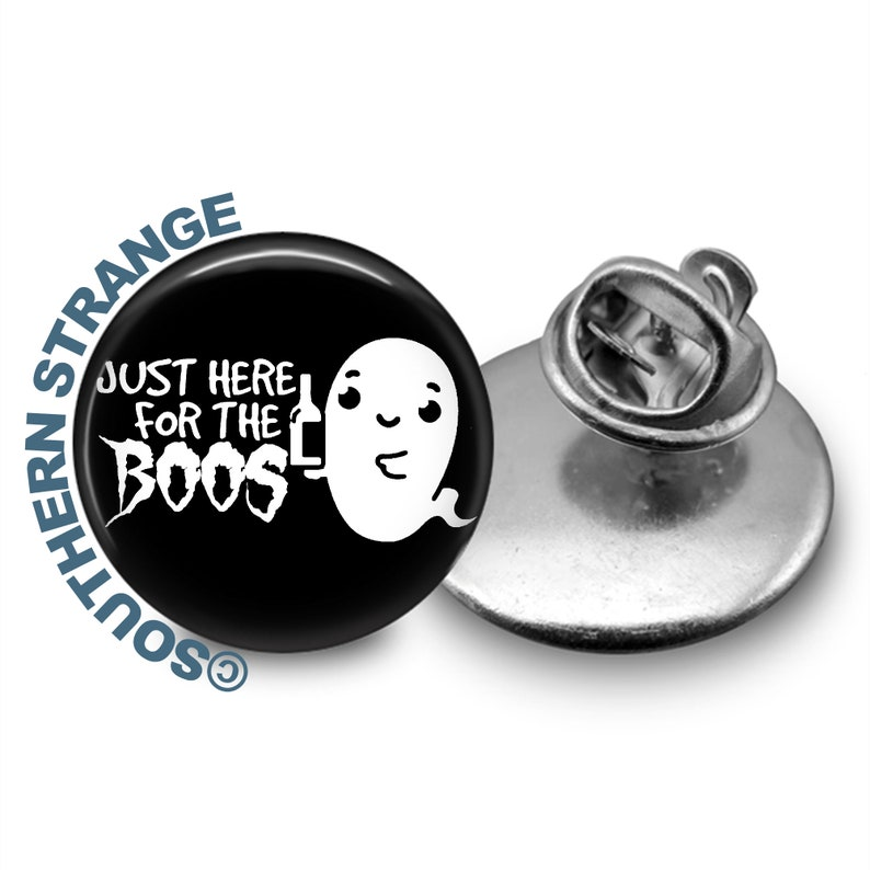Liquor Gift Just Here for the Boos Tie Tack Paranormal Tie Clip Alcohol Booze Accessory Halloween Wedding Ghost Humor Lapel Pin