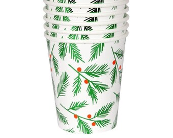 Vintage Hallmark Retro 1960s Paper Christmas Hot Cold Cups Two Available In original Wrapping Old New Stock Blue Green Christmas Tree