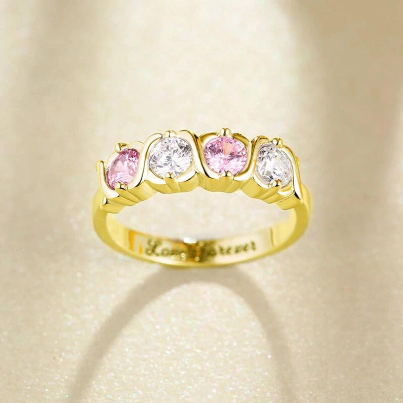 Custom jewelry\u2022 mother/'s day gift\u2022 personalized 4 birthstones ring \u2022 sterling silver \u2022 wedding ring \u2022 certified natural sterling silver ring