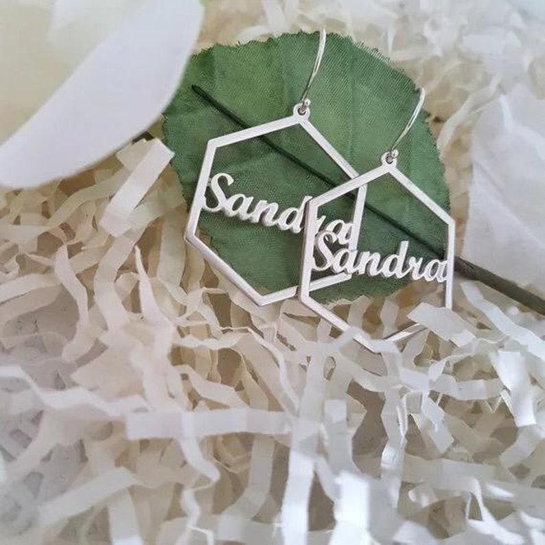 Handmade item gift for women,polygon shaped earring,gift earring jewellery