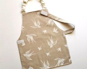 Montessori apron 5-6 years, Swallow, child sized apron