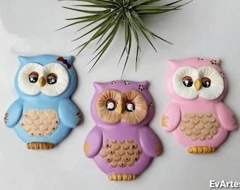 Cute Baby Owl Ceramic Fridge Magnets, Hand Painted Small Animal Bird Nursery Decor, Barn Owl Lover Gift for Girls, Newborn Baby Shower Gift