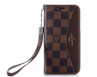 7abc1d304aa Luxury Louis Vuitton LV Canvas flip wallet Phone Case Cover for apple iPhone  6 7 8 X XS XR Max Plus High Quality Classic Brown Damier Grid