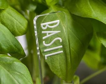 Plant Garden Markers | Herb Garden Plant Stake | Vegetable Garden | Clear Acrylic | Modern Font