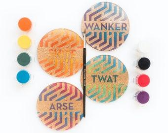 DIY Swear Word Acrylic and Cork Coaster Paint Kit, Geometric Design Painting Kit