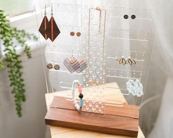 Tabletop Acrylic Jewelry Organizer, Earring Frame, Jewelry Organizer, Clutter-Free Jewelry Display