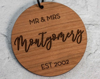 Mr and Mrs Personalized Ornament with Name and Date