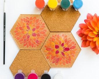 DIY Coaster Paint Kit  |  Painting Kit  |  Quarantine Kit  |  Acrylic Paint  |  Acrylic and Cork Coasters  |  Flower Floral Patterns Designs