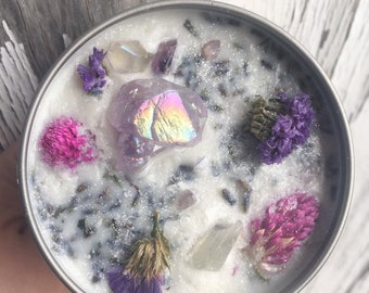 Anxiety Candle Lavender Candle Soy Candle Witchy Candle Anxiety Relief Candle Stress Candle Crystal Candle Flower Candle Oil Blend Candle