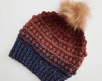 Chunky tri-colored beanie