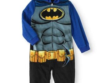 9c6d80f7b0 Batman DC Comic Boys Hooded One Piece Fleece Pajama