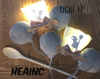 Light up Ratatouille ears, ratatouille little chef, Mickey ears, Minnie Ears, light up Ears, food & wine festival ears, remy ears