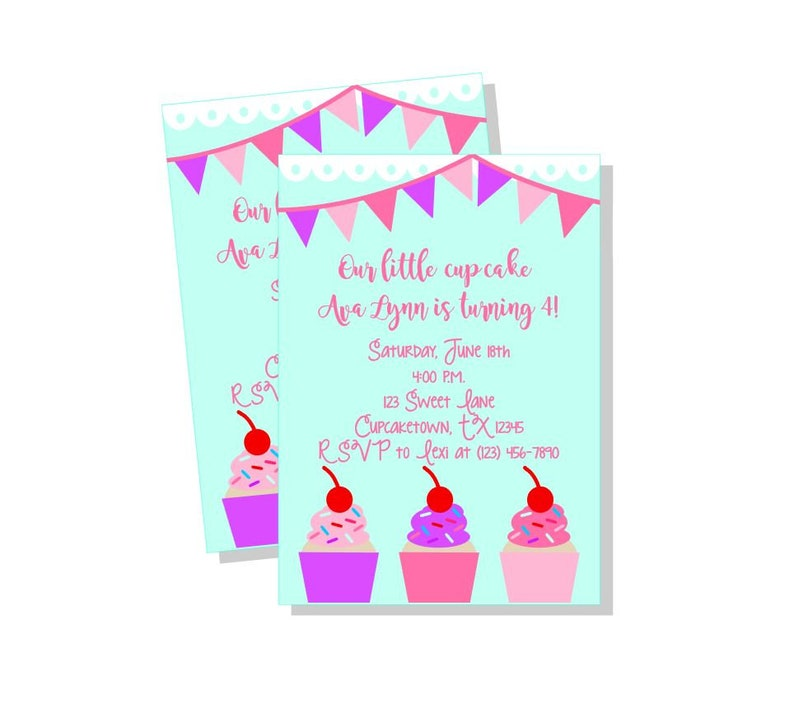 Cupcake Party Invitation Cupcake Birthday Party Invitation Cupcake Invites Pink And Purple Cupcake Birthday Party Invites Girly Cupcake