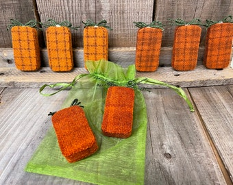 Upcycled Domino Wool Pumpkin Magnets Set of 2