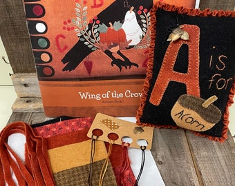 Acorn Pillow Wing of the Crow Autumn Pattern Book and Kit