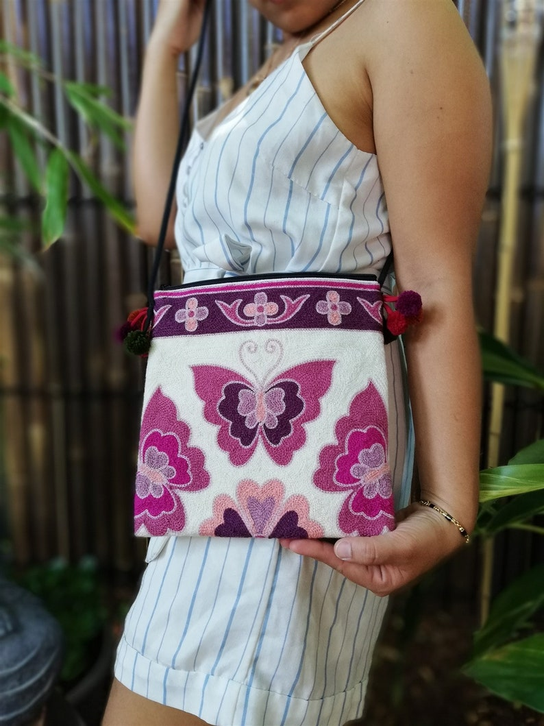 Butterfly Hippie Thai Style Bohemian Style Exoti Boho Woman/'s Thai Hill Tribe Pink Handmade Tote Crossbody Bag Handmade Fair Trade