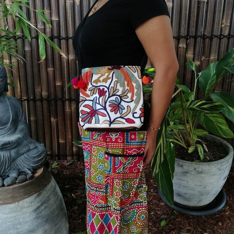 Flower Hippie Bohemian Style Thai Hill Tribe Handmade Tote Crossbody Bag Exotic Ethnic Fair Trade Handmade Woman/'s Thai Style Boho