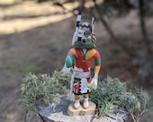 Vintage Hopi Kachina Half Clown, Native American Hand Made Wood Carving Signed by Adams , Original Rare Collectible South Western Art