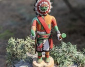 Vintage Hopi Kachina SUNFACE, Native American Hand Made Wood Carving Signed by Adams , Original Rare Collectible South Western Art