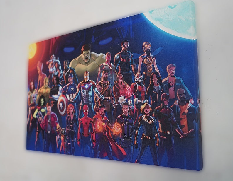 Marvel Heros Canvas Print Avengers Canvas Prints Marvel Universe Character together on Canvas Print Your Photos on Canvas