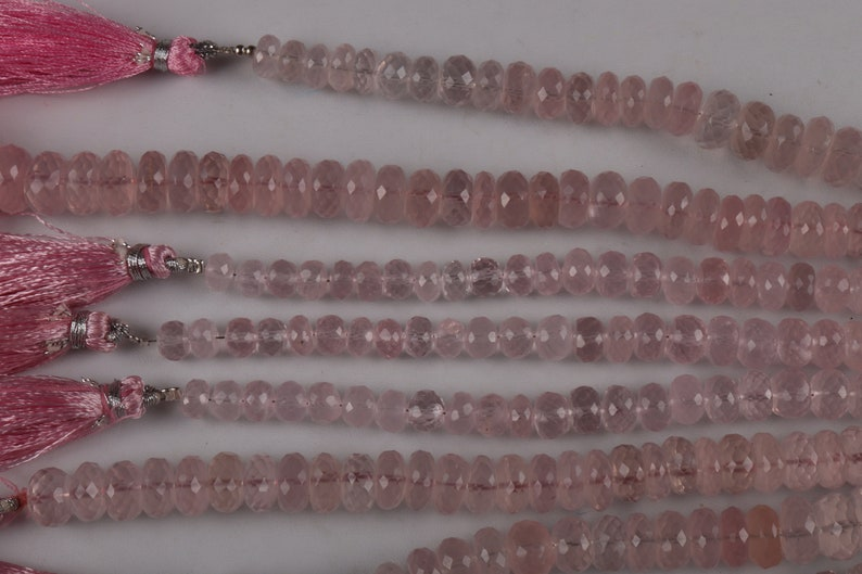 8 inch per line. round beads shape 10 mm approx size 125 carat approx weight rose quartz faceted gemstone