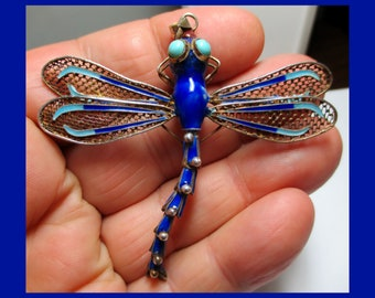 TURQUOISE & ENAMEL DRAGONFLY Pin/Pendant – Flexible Linked Tail – Great Motion – Large Size - Sterling Silver - New Old Stock