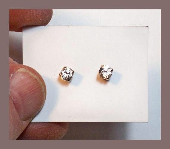 Pair of 3.8 Millimeter Facetted Rounds Sterling Silver Made In Maine GOLDEN SAPPHIRE STUDS