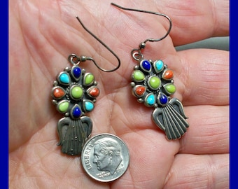 ZUNI DANGLE EARRINGS – Zuni Rainbow - Multi Colored Gemstones - Well Matched - Sterling Silver - Vintage - New Old Stock