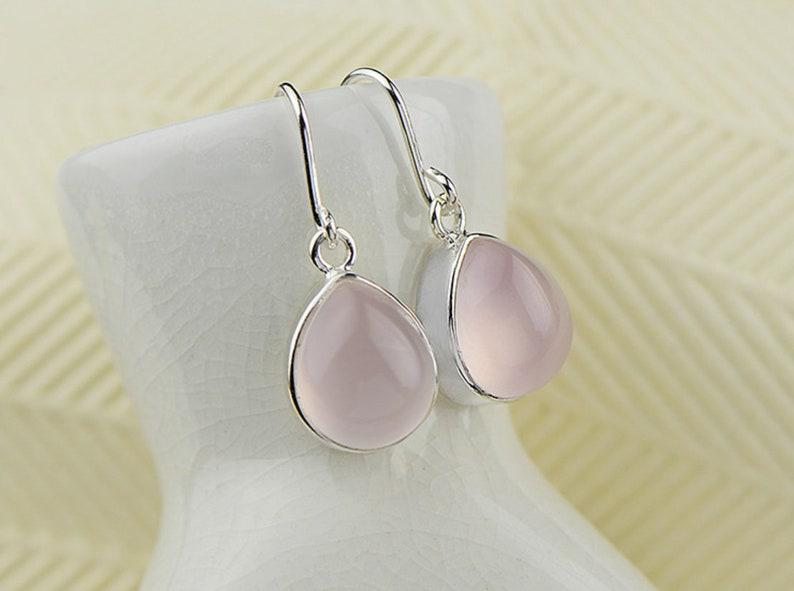 Rose Quartz Sterling Silver Earrings Sterling Silver Teardrop Earrings Pink Crystal Statement  Earrings