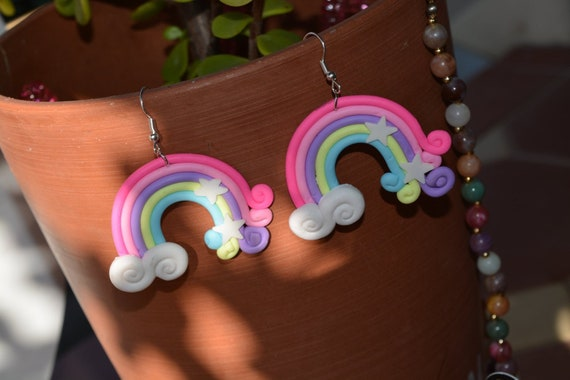 Rainbow Clay Earrings