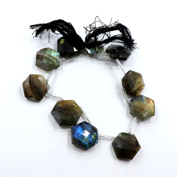 10 Pieces Natural Labradorite Beads 11mm Faceted Trillion Shape Briolettes Gemstone Beads Superb Labradorite Stone Semi Precious No4756