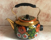New soviet electric hand painted Kettle - Russian Art Folk - Decorative Teapot - Made in USSR