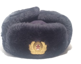 687525c3ac9 Soviet Red Army winter officer s cap Russian hat
