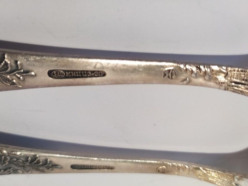 Serving Silverware for Kitchen Home Flatware Made in USSR Set of 6 Soviet Melchior dessert spoons 6.6 in original box