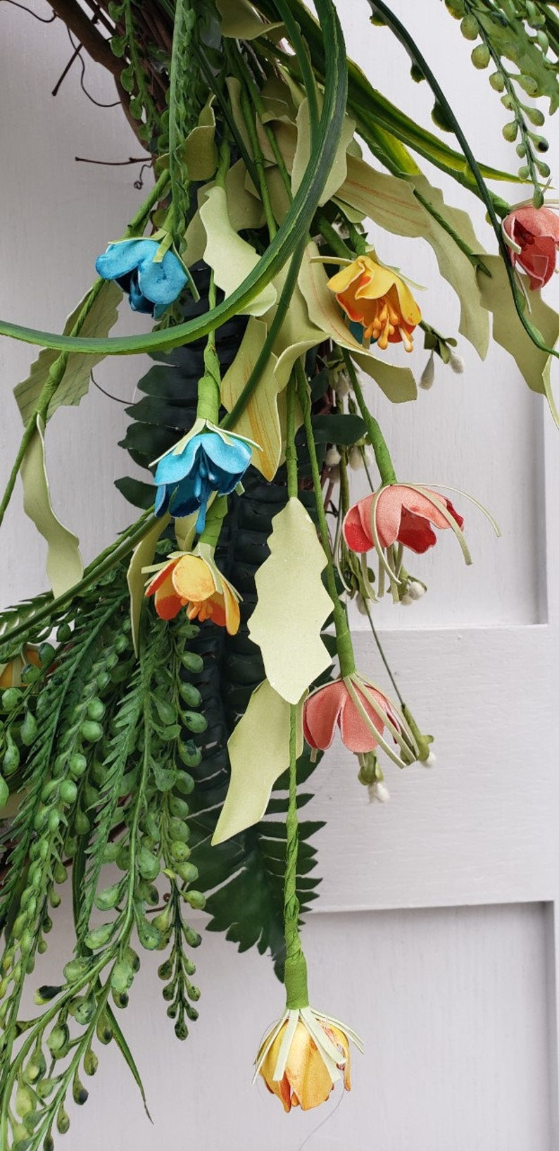 Teal Wildflower Wreath