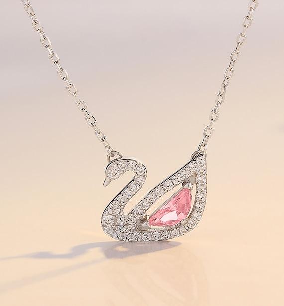 Pink crystal swan zircon elegant charm necklace luxury
