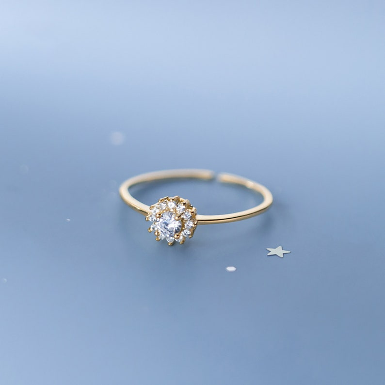 Snowflake Diamond Korean style Minimalist Cute Single Ring Elegant 925 Silver Adjustable Open End Ring Birthday Present Gift for Her