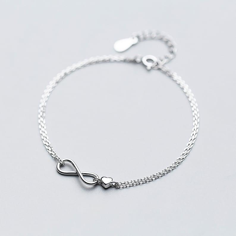 Double chains Bow-knot heart Bracelet Fashion 925 Sliver Adjustable Bracelet for women for girl for her birthday present gift for girlfriend