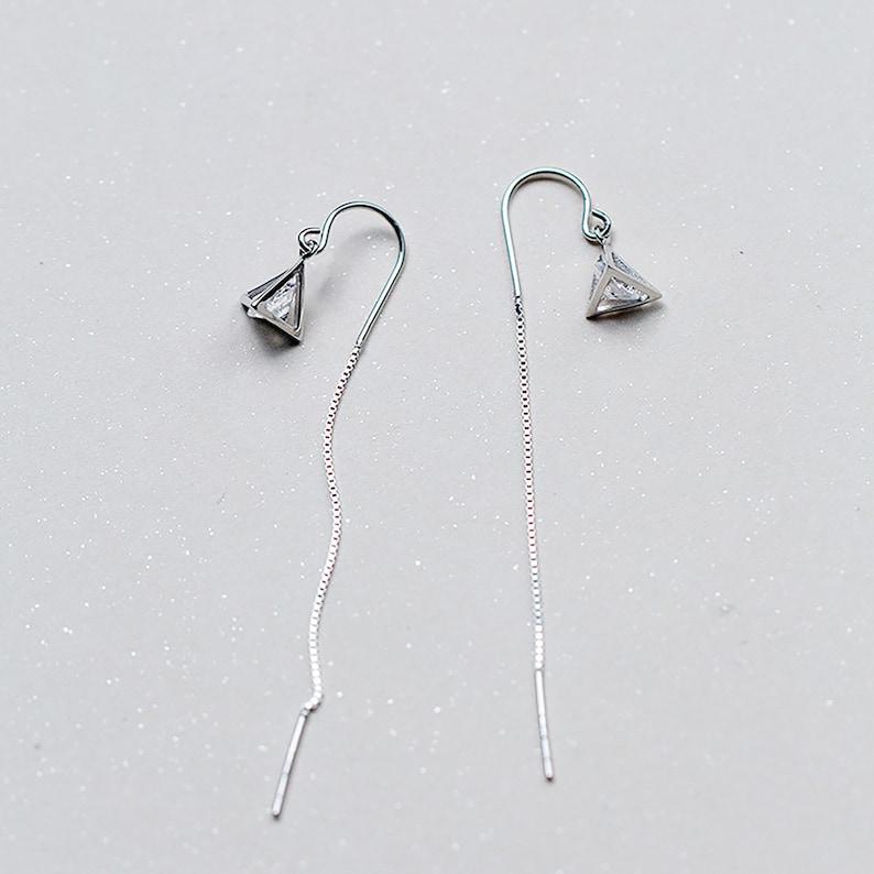 Diamond Triangular Pyramid Ear Threads Fashion minimalist Threader Earrings S925 Silver Birthday Present Gift for Her Everyday Drop Earrings