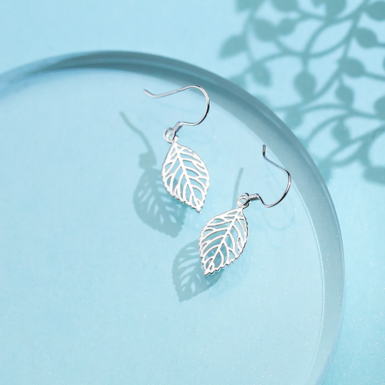 Leaf Korean Style cute Ear Hook For Girl 925 Silver Gift For Girlfriend Fashion For Woman Everyday Drop Hook Earring