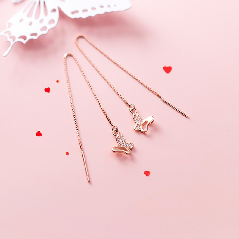 Cute Butterfly Fashion 925 Silver Ear Thread Threader Earring For her birthday present Gift For girlfriend Everyday Drop Earrings for women
