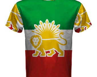 af4a2d78d New The Lion Sun Iran flag Sublimated Men s Sport Full print Mesh t-shirt  tee size S-4XL Free Shipping