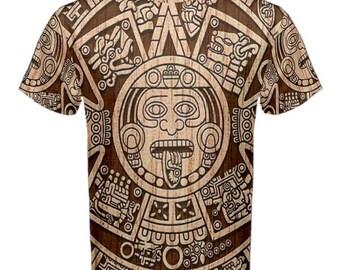 95efa0335 New Aztec Mayan Calendar Sublimated Men's Sport Full print Mesh t-shirt tee  size S-5XL Free Shipping