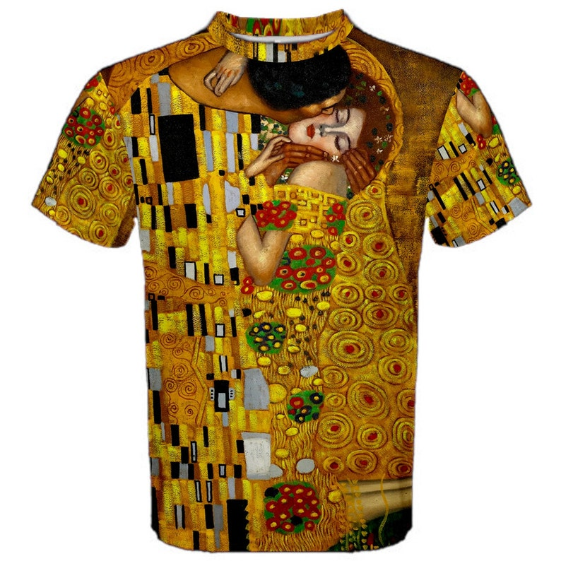 New The Kiss by Gustav Klimt Sublimated Men/'s Sport Full print Mesh t-shirt tee size S-4XL