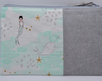 Kawaii Narwhals love hearts pencil case zipper pouch sea unicorns makeup bag in pink and green