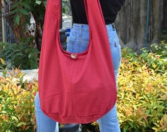 Bohemian Hippie Style Bag Soft Cotton Sling Crossbody Messenger Bag Purse Hobo Monk Buddha Clothing Large Violet PN-01-SBG-11