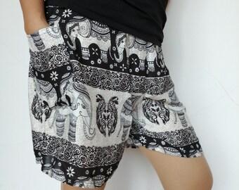 Women Shorts Fair Trade Bohemian Style Print Design Casual Beach Hippie Tribal Rayon Shorts Gypsy Thai Elephant Yoga Pants PN-01-SHO-06