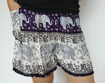 Beach African Short pant Summer Evening Black and White Elephant Boho African Beach Summer Short Boho Pant African Rayon Wear